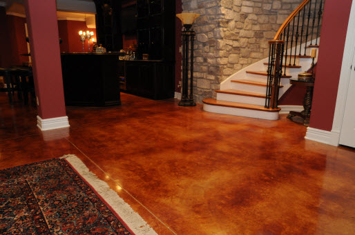 acid stained concrete floor