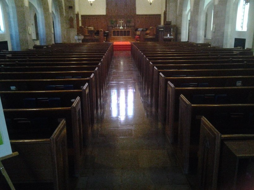 church flooring project - before photo