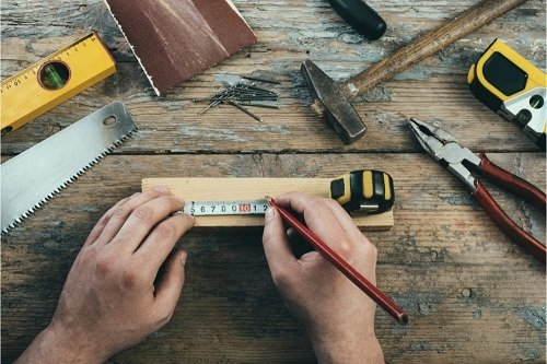 Carpenter with his tools